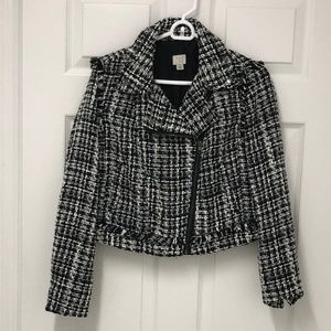 NWT! tweed moto jacket sz s